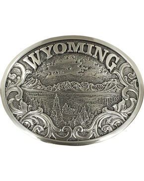 Nocona Men's Silver Wyoming Belt Buckle , Silver, hi-res