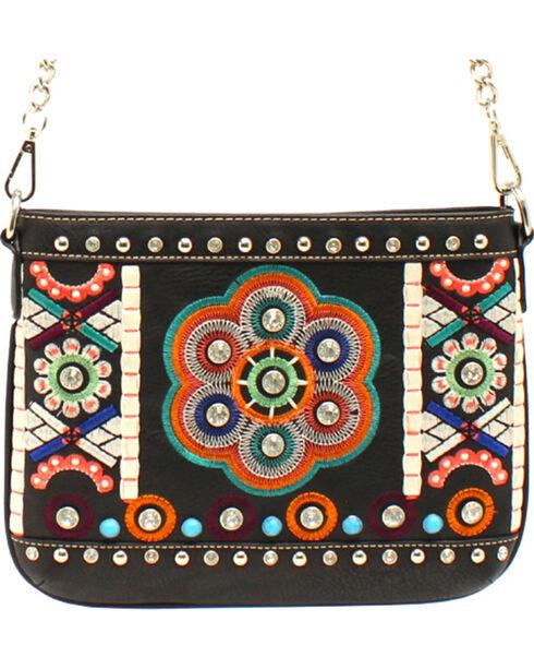 Blazin Roxx Floral Embroidery Messenger Bag, Black, hi-res