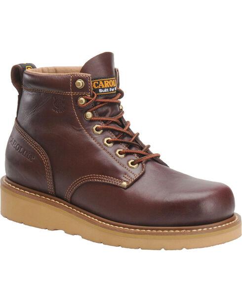 Carolina Men's Brown Wedge Work Boots - Broad Toe, Black Cherry, hi-res