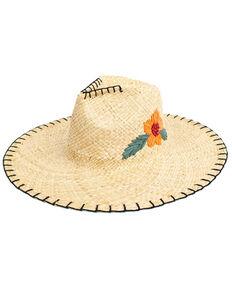 Peter Grimm Natural Delfina Flower Paper Straw Resort Hat , Natural, hi-res