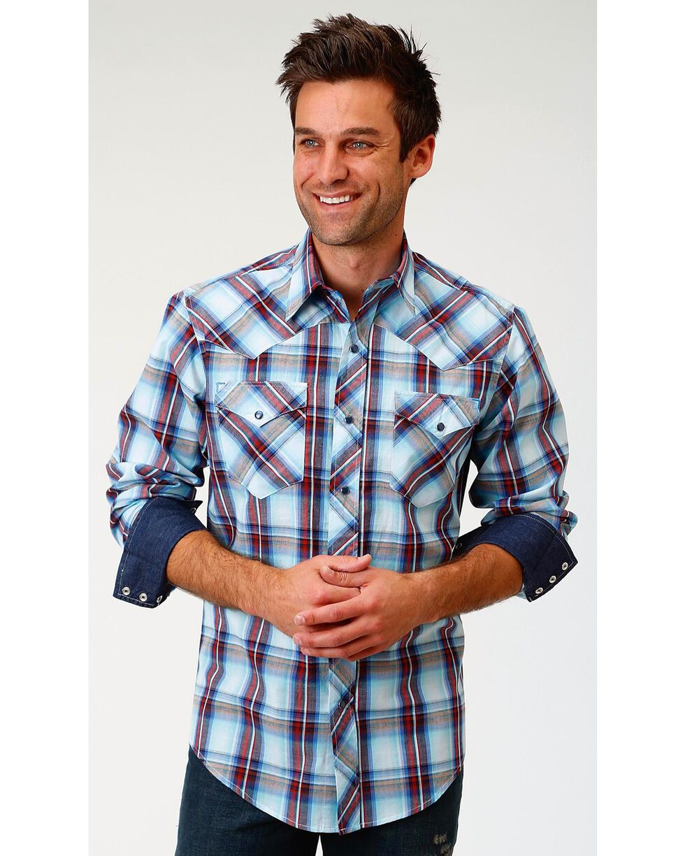 Roper Men's Liberty Plaid Long Sleeve Western Snap Shirt, Blue, hi-res