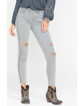 Miss Me Women's Grey Studded Distressed Jeans - Skinny , Grey, hi-res