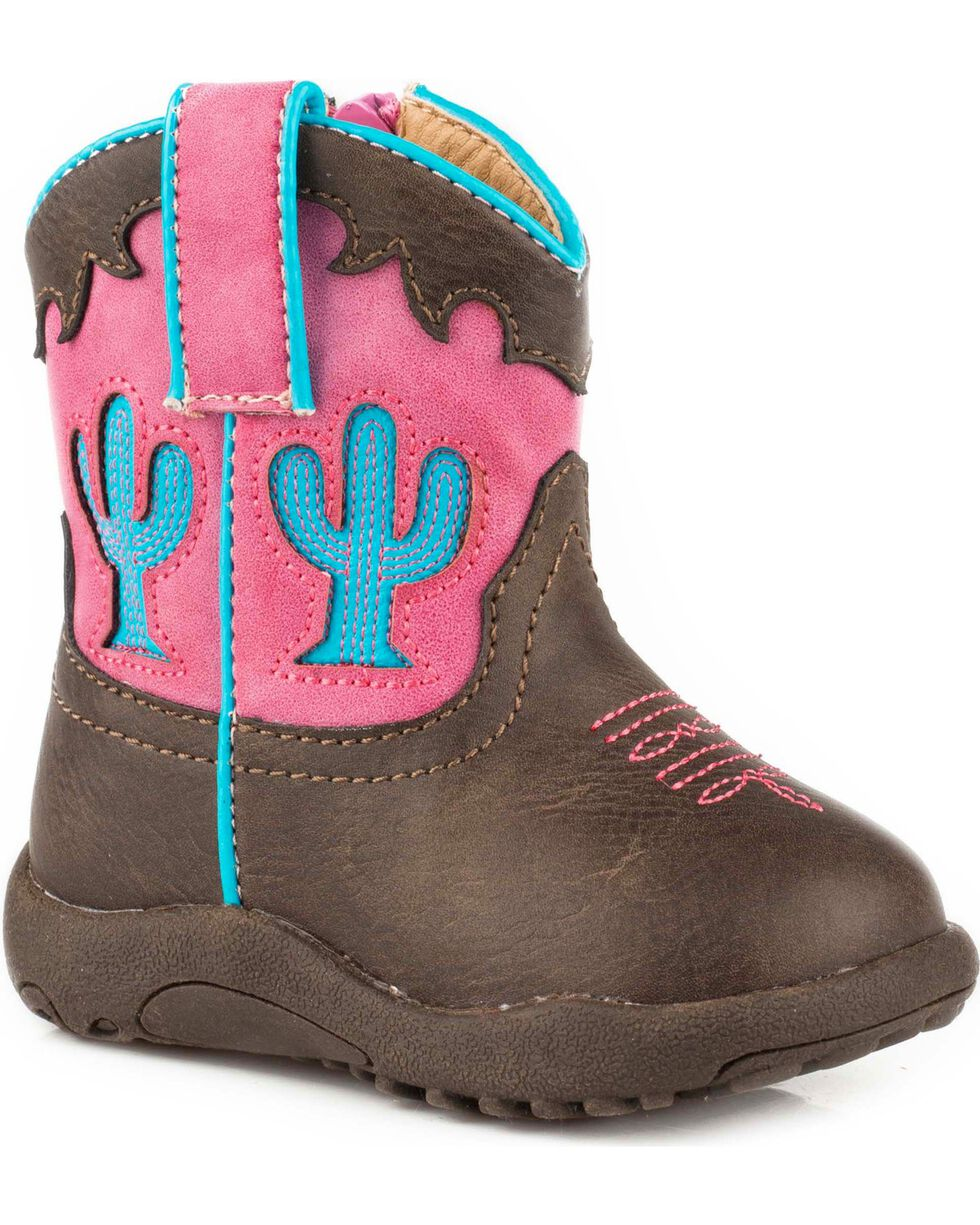 Roper Infant Girls' Cowbaby Cactus Pre-Walker Cowgirl Boots -  Round Toe, Brown, hi-res