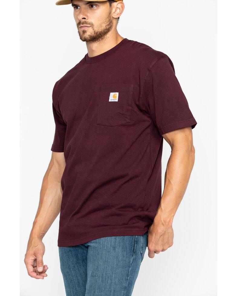 Carhartt Men's Solid Pocket Short Sleeve Work T-Shirt, Port, hi-res