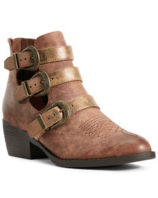 Ariat Women's Unbridled Melody Western Booties - Round Toe, Tan, hi-res
