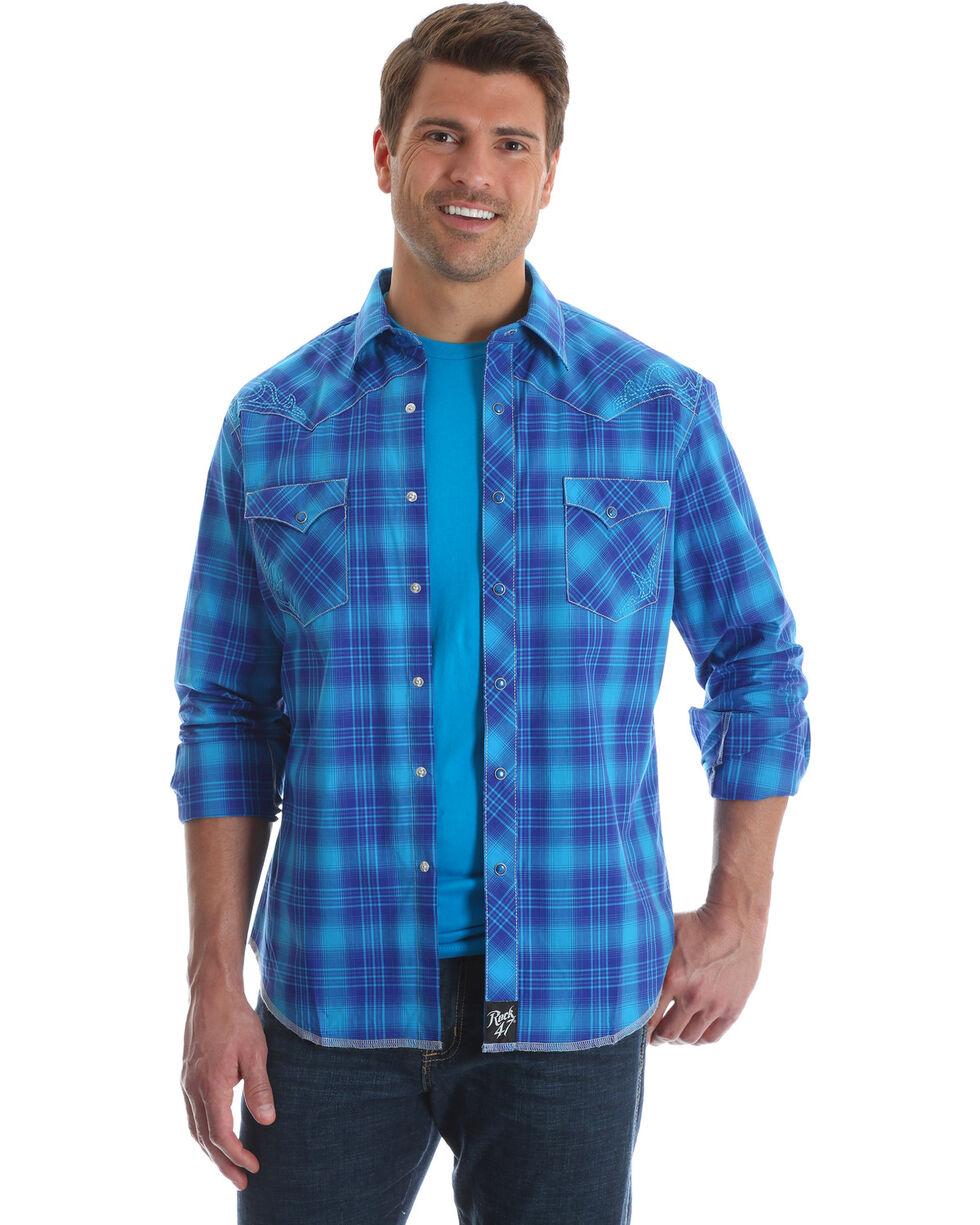 Wrangler Rock 47 Men's Blue Large Plaid Print Shirt , Blue, hi-res