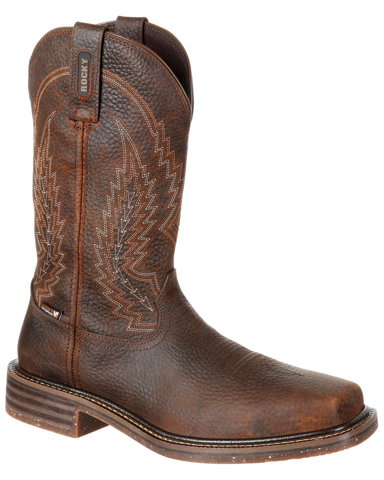 Rocky Men's Riverbend Waterproof Western Work Boots - Composite Toe, Dark Brown, hi-res