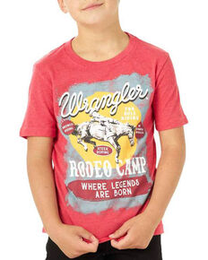 Wrangler Boys' Heather Red Rodeo Camp Graphic Short Sleeve T-Shirt , Red, hi-res