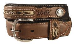 Kids' Inset & Concho Adorned Leather Belt - 18-28, Black, hi-res