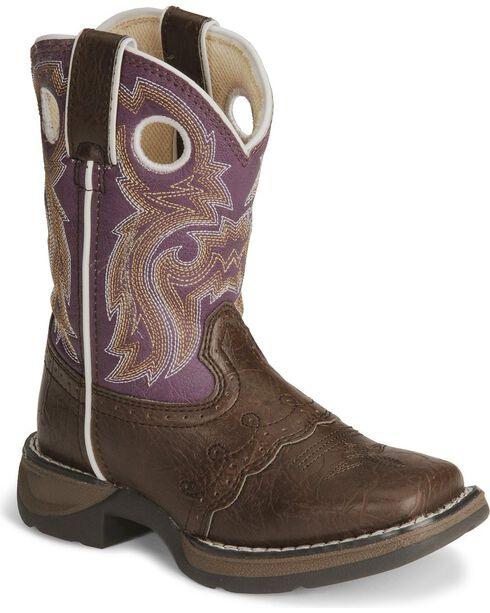 Durango Girls' Brown Lil Flirt Cowgirl Boot - Square Toe, Brown, hi-res