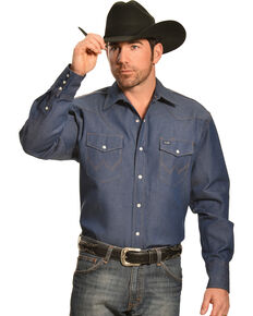 Wrangler Men's Indigo Denim Long Sleeve Work Shirt , Indigo, hi-res