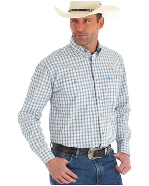 Wrangler George Strait Men's White Plaid Western Shirt , White, hi-res