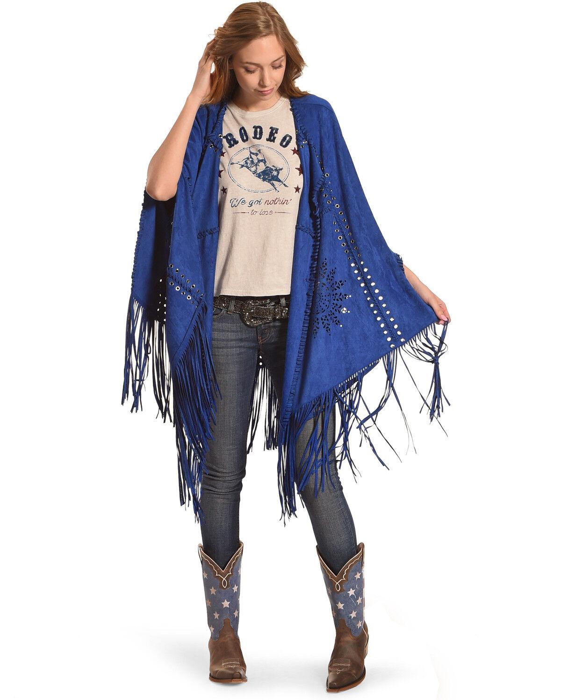 Tesoro Moda Women's Royal Blue Fringe