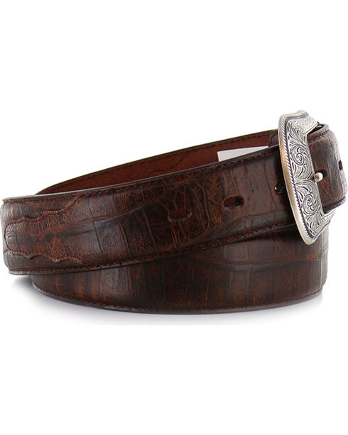3D Men's Gator Overlay Dress Belt , Cognac, hi-res