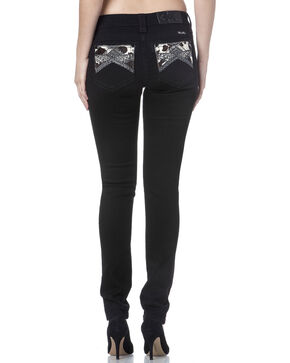 Miss Me Women's Black Cowhide Trim Mid Rise Jeans - Skinny, Black, hi-res