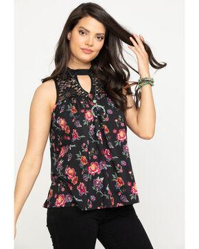 Studio West Women's Floral Print Lace Knit Top, Black, hi-res