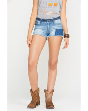 Miss Me Women's Indigo Piece It Together Shorts , Indigo, hi-res