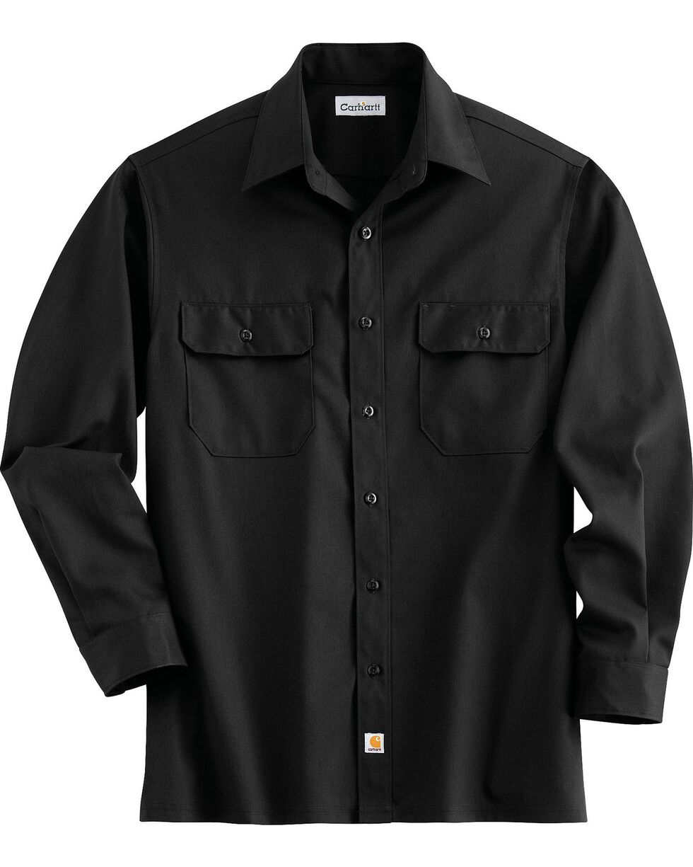 Carhartt Twill Work Shirt, Black, hi-res