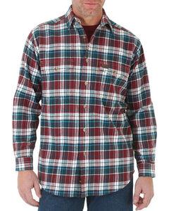 Wrangler Men's Plaid Button Down Long Sleeve Shirt, Burgundy, hi-res
