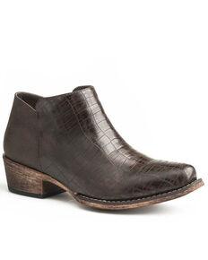 Roper Women's Brown Sofia Faux Caiman Fashion Booties - Snip Toe, Brown, hi-res