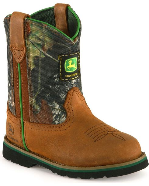 John Deere Toddler Boys' Camo Johnny Popper Boots - Roper, Brown, hi-res