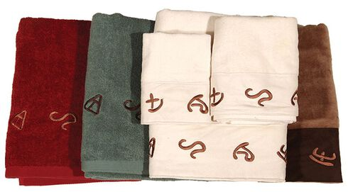 Three-Piece Embroidered Branding Symbols Bath Towel Set - Turquoise, Turquoise, hi-res