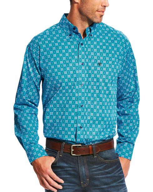 Ariat Men's Aqua Laketon Print Long Sleeve Shirt - Big, Aqua, hi-res