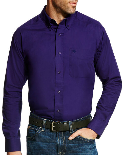 Ariat Men's Purple Solid Poplin Long Sleeve Button Down Shirt, Purple, hi-res