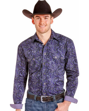 Rough Stock By Panhandle Men's Purple Paisley Western Shirt , Purple, hi-res