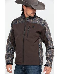 HOOey Men's Brown Camo Softshell Zip-Up Athletic Jacket , Brown, hi-res