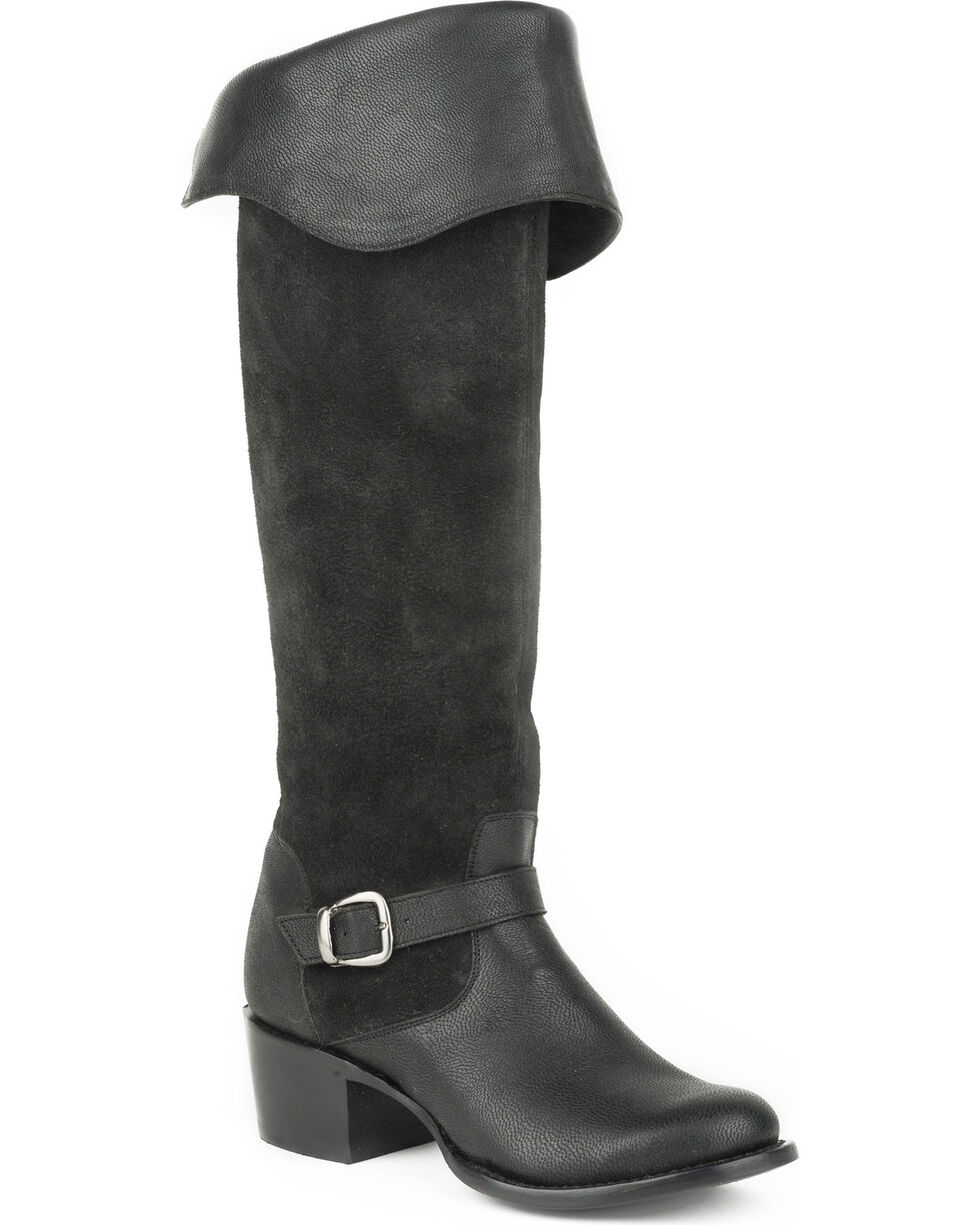 Stetson Women's Bianca Black Goat Over the Knee Riding Boots - Round Toe, Black, hi-res