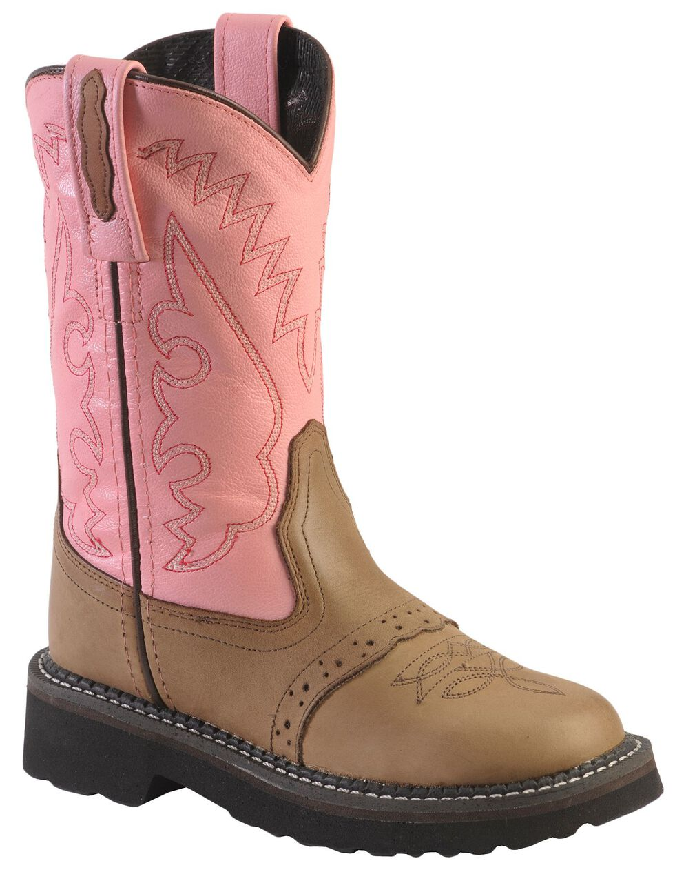 Old West Girls' Light Pink Saddle Vamp Cowgirl Boots - Round Toe, Apache Tan, hi-res