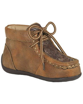 M&F Western Boys' Lace-Up Moccasin Slippers - Moc Toe, Tan, hi-res
