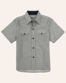 Ely Walker Boys' Assorted White Geo Print Short Sleeve Western Shirt , White, hi-res