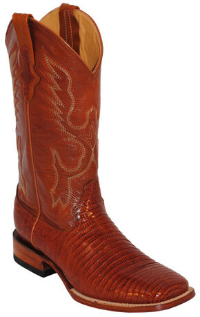 Ferrini Men's Teju Lizard Exotic Western Boots - Square Toe, Peanut, hi-res