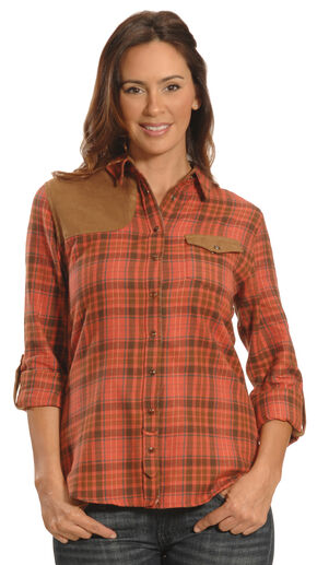 Tasha Polizzi Women's Red Clay Plaid Shooting Shirt , Red Plaid, hi-res