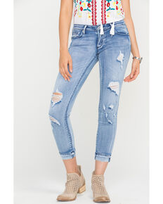 Tractr Blu Women's All Over Crop Cuffed Hem Jeans - Skinny, Indigo, hi-res