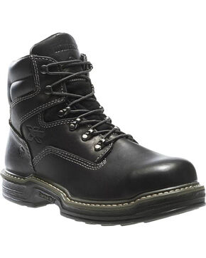 "Wolverine Men's Raider 6"" Work Boots - Steel Toe, Black, hi-res"
