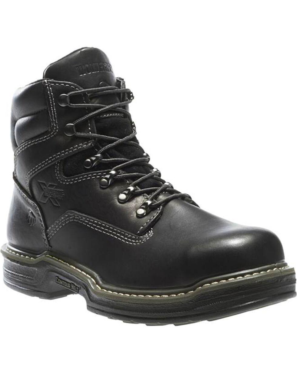 """Wolverine Men's Raider 6"""" Work Boots - Steel Toe, Black, hi-res"""