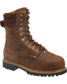 "Carolina Men's 8"" Brown Waterproof Insulated Internal MetGuard Boots - Composite Toe, Brown, hi-res"