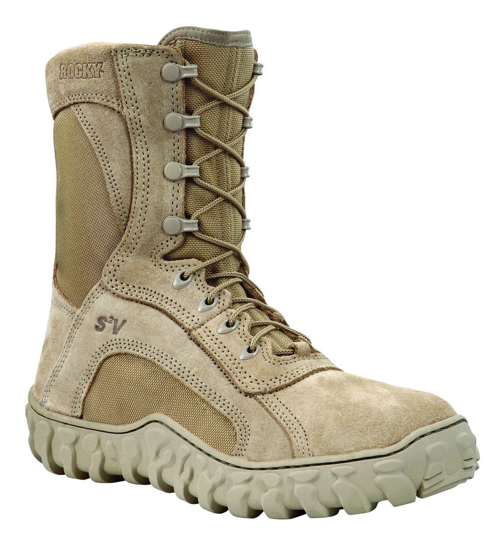Rocky Men's S2V Soft Toe Vented Military Boots, Tan, hi-res