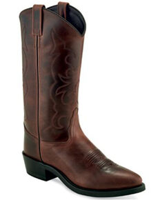 Old West Men's Brown Shaft Western Boots - Round Toe, Brown, hi-res