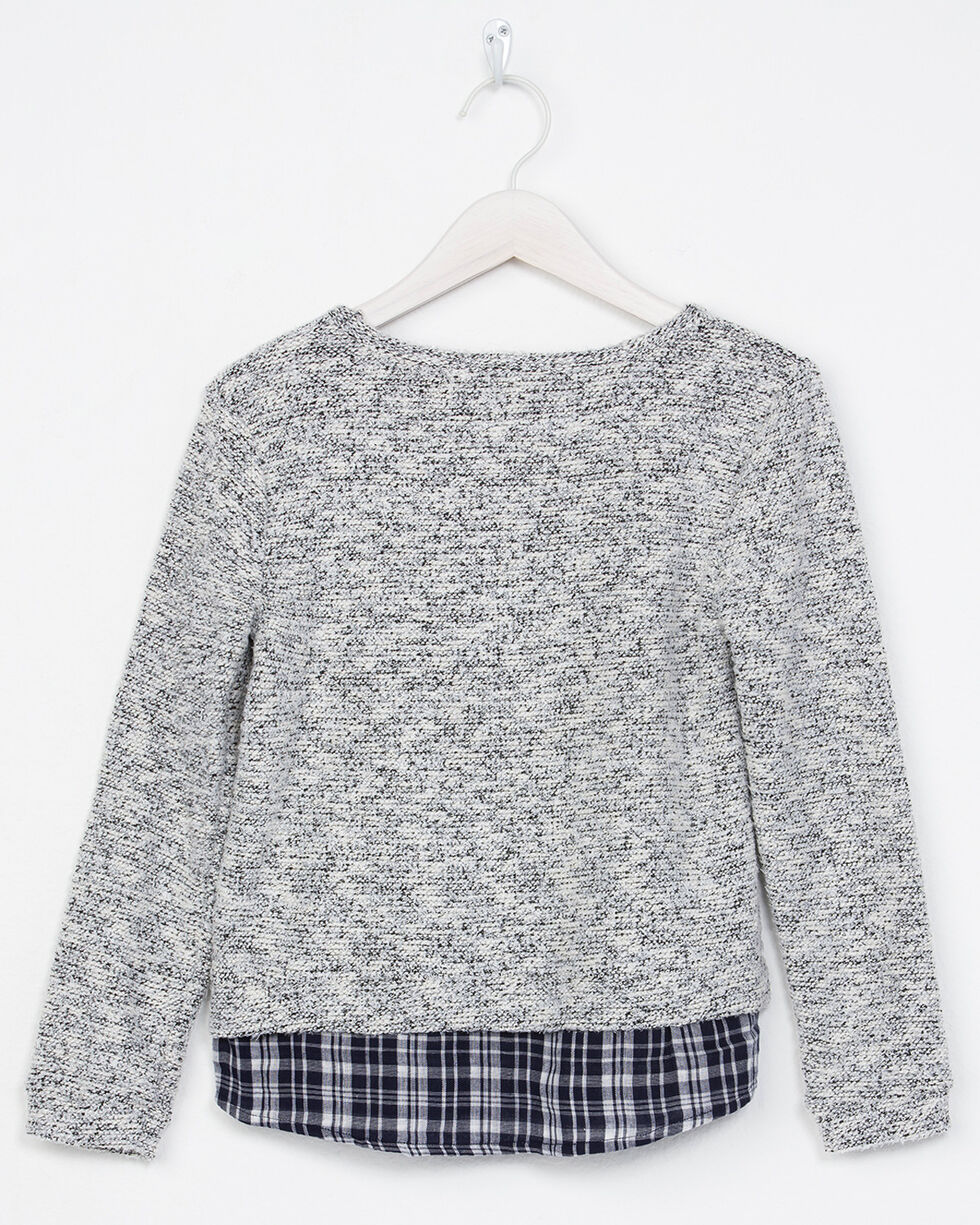 Miss Me Girls' Two Of A Kind Top, Grey, hi-res