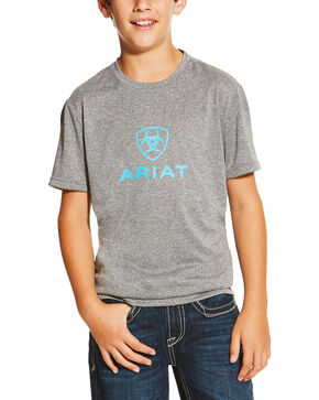 Ariat Boys' Grey Tek Charger Logo Tee , Grey, hi-res