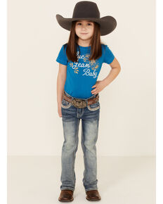 Grace In LA Toddler Girls'  Border Stitched Embellishment Pocket Bootcut Jeans , Blue, hi-res