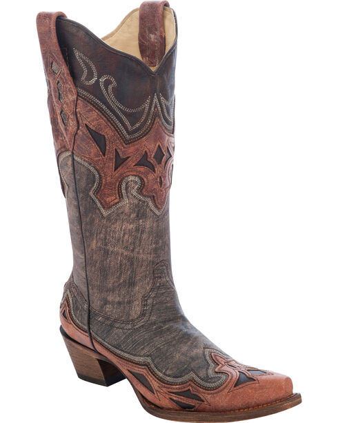 Corral Women's Inlay Cowgirl Boots - Snip Toe, Brown, hi-res