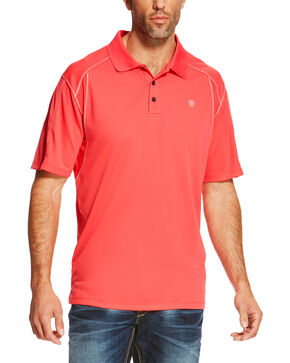 Ariat Men's Pink Short Sleeve Tek Polo, Pink, hi-res