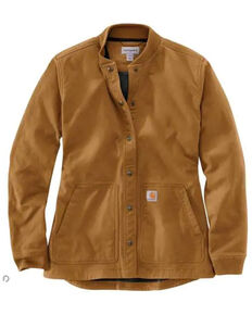 Carhartt Women's Brown Relaxed Canvas Snap Jacket , Brown, hi-res