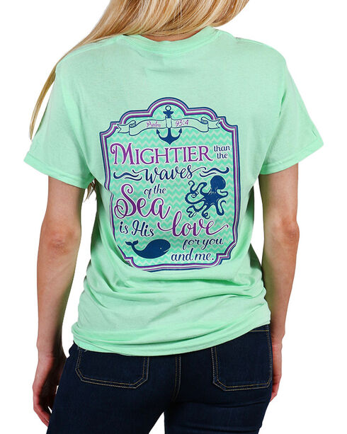Cherished Girl Women's Green Mightier Than The Waves Tee - Plus , Light/pastel Green, hi-res