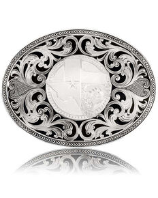 Montana Silversmiths Men's Texas Proud Filigree Buckle, Silver, hi-res